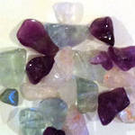 Mixed Tube of Semi-Precious Chips - Rainbow Flourite, Rose Quartz