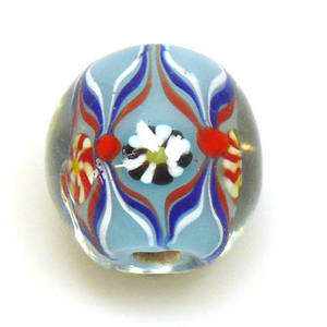 Fabulous Large Round Lampwork, pale blue with multi design