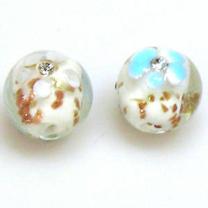 Chinese Lampwork Bead, 15mm Round, inset with Diamates. White.