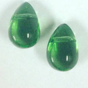 Flattened Tear Drop, 6mm x 10mm: Green