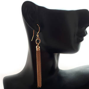 EARRING: Plain slim chain tassel - Gold
