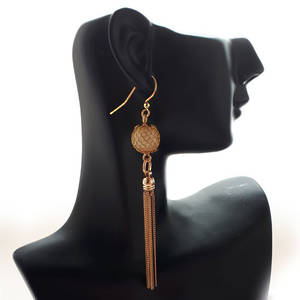 EARRING: Mesh pearl with tassel - Gold