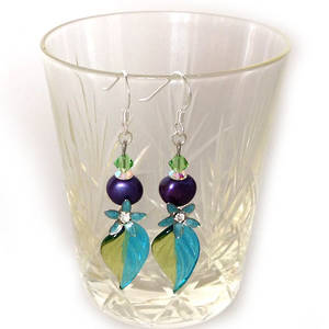 Europa Earrings: Aqua and Purple