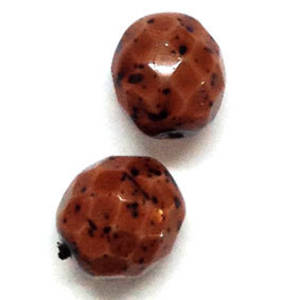 Czech Firepolished Facet: 10mm - Brown speckles
