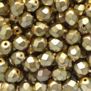 Czech Firepolished Facet: 6mm - Metallic Gold (coated)