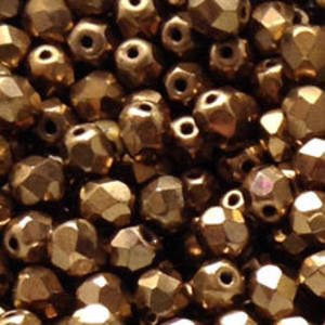 Czech Firepolished Facet: 6mm - Metallic Dark Gold (coated)