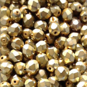 Czech Firepolished Facet: 6mm - Metallic Light Gold (coated)