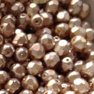 Czech Firepolished Facet: 6mm - Metallic Light Brown Shimmer (coated)