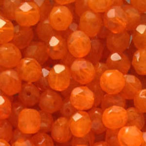 Czech Firepolished Facet: 6mm - Opaque Orange