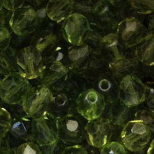 Czech Firepolished Facet: 6mm - Light Olivine