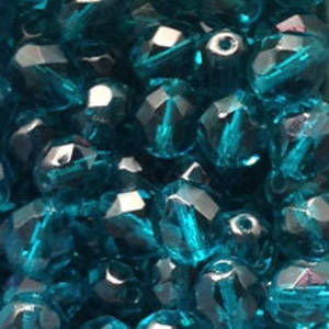 Czech Firepolished Facet: 8mm - Indicolite