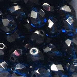 Czech Firepolished Facet: 8mm - Deep Capri Blue