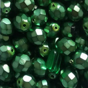 Czech Firepolished Facet: 8mm - Satin  Grass Green (coated)