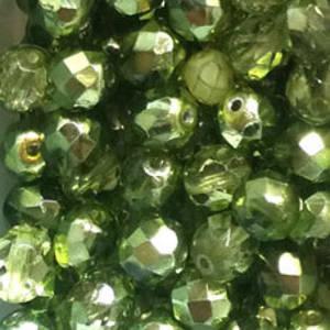 Czech Firepolished Facet: 8mm - Soft Lime metallic/transparent