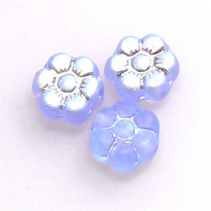Flat Flower, 8mm - Sapphire, light AB