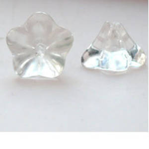 Glass Trumpet Flower, 12mm - Clear