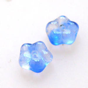 NEW! Flat Flower, 6mm - Blue/Clear multi