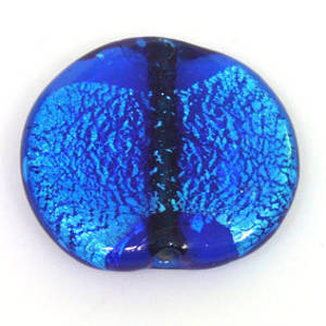 Indian Lampwork, large feature foil, capri blue flat disc