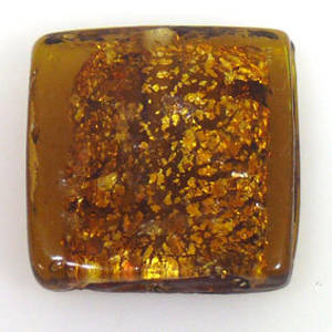 Indian Lampwork, large feature foil, goldy flat square