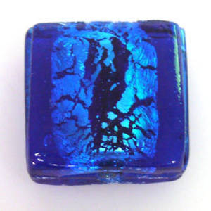 Indian Lampwork, large feature foil, capri blue flat square