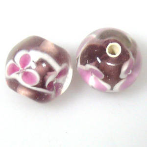 Indian Lampwork, round, very light amethyst with pinky/white flower pattern