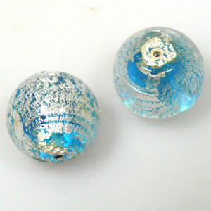 Indian Lampwork, round, aqua with silver foil