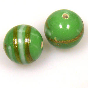 Indian Lampwork, round, opaque pea green with gold and grey lines