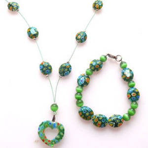 NEW KITSET: Floating necklace and bracelet: Green millefiore