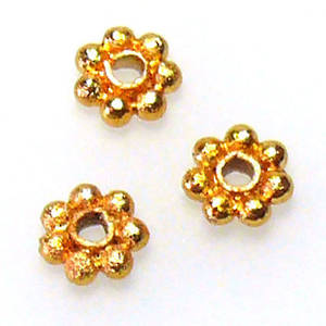 Metal spacer - 5mm daisy - gold