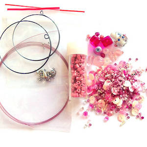 Youth Bead and Finding Pack: Pink with pink square feature seeds
