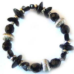 Eclectia Bracelet KIT: Black and silver stretch