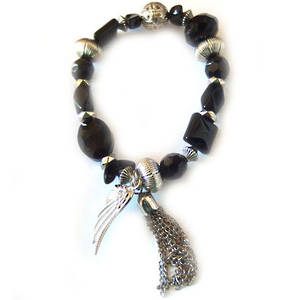 Eclectia Bracelet KIT: Black and silver with tassel