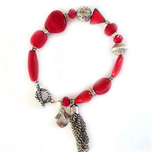 Eclectia Bracelet KIT: Red and silver with tassel