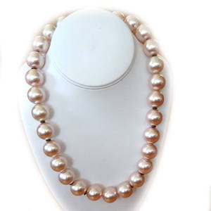 KITSET: 'Flintstone' necklace, lt dusky peachy/pink