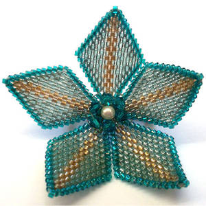 Peyote Flower Kitset, teal and gold