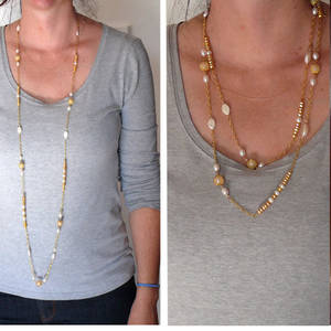 KIT: Long Elegant Necklace, gold and cream