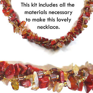 KITSET: Multi strand necklace, coral and ambers