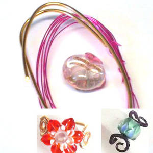 Wire Ring Kit, Pink cushion with pink flower