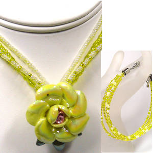KITSET, rose necklace and 3 strand bracelet, Yellow
