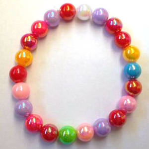 KITSET: Kids stretch bracelet, small acrylic beads, multi-coloured