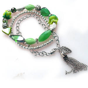 NEW! KITSET: Stacked Bracelets: Green Eclectica