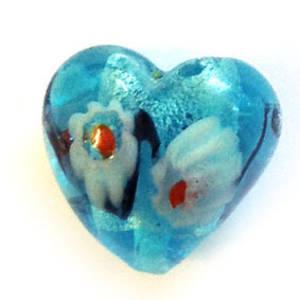 Indian Lampwork Heart - aqua