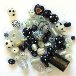 Indian Lampwork Mix 4: Blacks and Whites