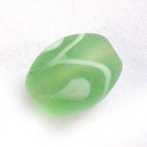 Chinese Lampwork Oval, matte chrysolite and white
