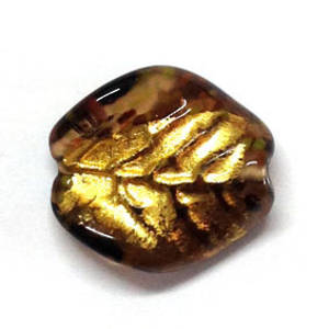 Czech lampwork oval, brown with gold foil, leaf markings, twisted
