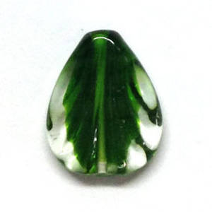 Czech lampwork pear, transparent with green core, fan imprint