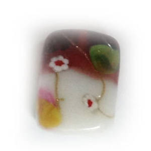 Chinese lampwork rectangle, white and raspberry