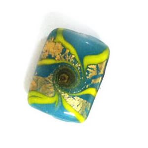 Chinese lampwork rectangle, teal with gold and green designs