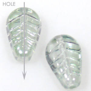 Glass Deco Leaf, 7mm x 12mm - Light chrysolite transparent