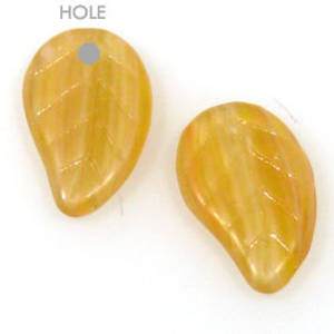 Glass Flat Leaf, 10mm x 15mm - Amber frosted